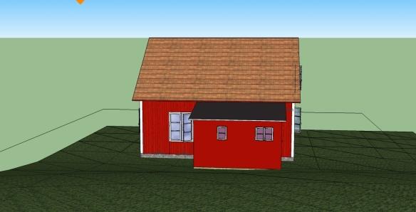 Sketchup-skiss med utbyggnad norrifrån